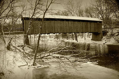 Photograph - Ada Covered Bridge In Winter In Sepia Tone by Randall Nyhof