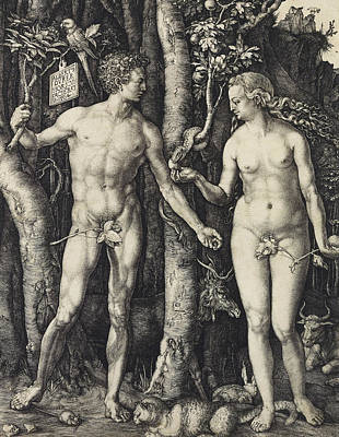 Relief - Adam And Eve  by Albrecht Durer