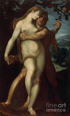 Sinner Wall Art - Painting - Adam And Eve by Bartholomaeus Spranger