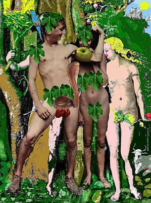 Digital Art - Adam And Eve Before And After -nach Durer by Doug Duffey