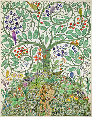 Sinner Wall Art - Painting - Adam And Eve Design  by Charles Francis Annesley Voysey