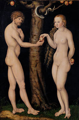 Serpent Painting - Adam And Eve In The Garden Of Eden by The Elder Lucas Cranach