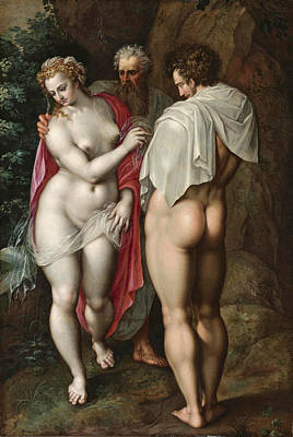 Jacob De Backer Painting - Adam And Eve by Jacob de Backer