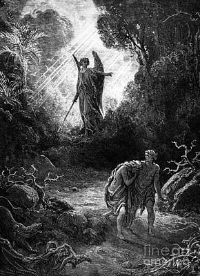 Walking Away Drawing - Adam And Eve Leaving Paradise by Gustave Dore