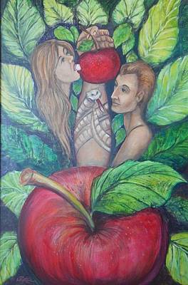 Lynn Burton Wall Art - Painting - Adam And Eve by Lynn Burton