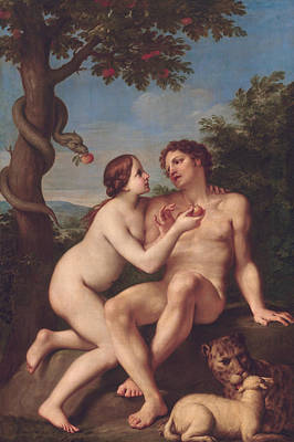 Adam And Eve Painting - Adam And Eve by Marcantonio Franceschini