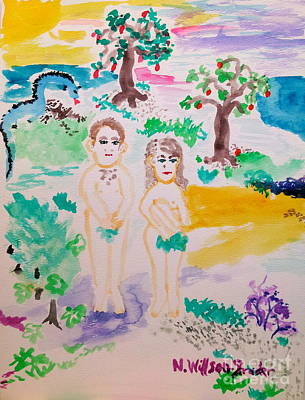 Adam And Eve Print by N Willson-Strader