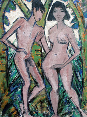 Bible Art Painting - Adam And Eve by Otto Mueller