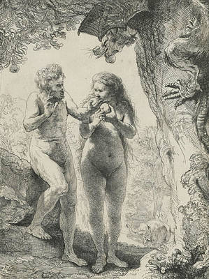 Adam And Eve Art Print by Rembrandt