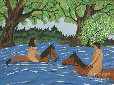Man Painting - Adam And Eve Swimming On Horses by Jeffrey Koss