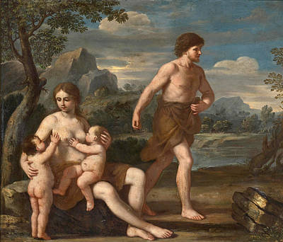Cain Painting - Adam And Eve With Cain And Abel by Giacinto Gimignani