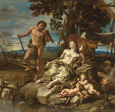 Cain Painting - Adam And Eve With The Infants Cain And Abel by Lorenzo De Ferrari