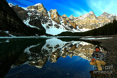 Photograph - Adam Jewell At Moraine Lake Sunrise by Adam Jewell