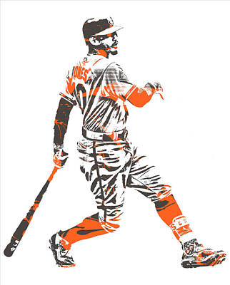 Mixed Media - Adam Jones Baltimore Orioles Pixel Art 11 by Joe Hamilton