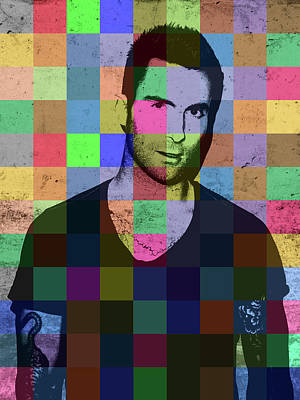 Adam Mixed Media - Adam Levine Maroon Five Pop Art Patchwork Colorful Portrait by Design Turnpike