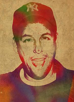 Adam Sandler Comedian Actor Watercolor Portrait On Canvas Art Print by Design Turnpike