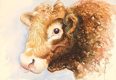Brown Cow Painting - Adam The Bull by Alison Cooper