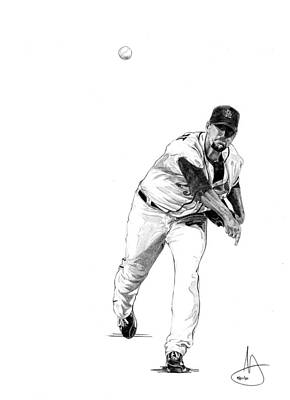 St. Louis Cardinals Drawing - Adam Wainwright by Joshua Sooter