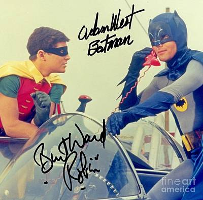 Batman And Robin Photograph - Adam West And Burt Ward Autographed Photo by Pd