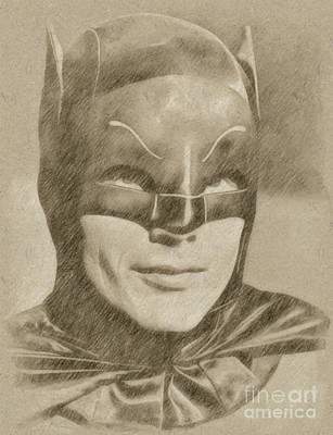 Fantasy Drawings - Adam West as Batman by Frank Falcon