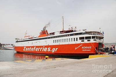 Typographic World Royalty Free Images - Adamantios Korais ferry in Athens Royalty-Free Image by David Fowler