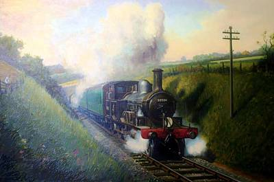 Painting - Adam's 4-4-2 T Loco. by Mike Jeffries