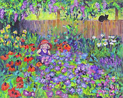 Little Girls In Garden Painting - Ada's Garden by Peggy Johnson