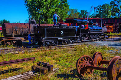 No 3 Photograph - Adding Oil To Steam Train No 3 by Garry Gay
