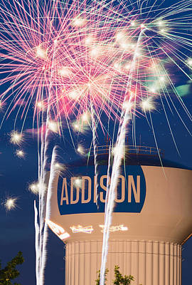 Photograph - Addison Fireworks July Fourth by Rospotte Photography