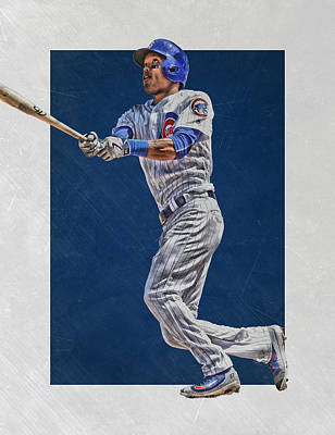 Bat Mixed Media - Addison Russell Chicago Cubs Art by Joe Hamilton