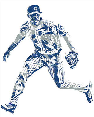 Mixed Media - Addison Russell Chicago Cubs Pixel Art 10 by Joe Hamilton
