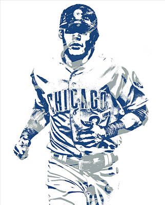 Mixed Media - Addison Russell Chicago Cubs Pixel Art 11 by Joe Hamilton