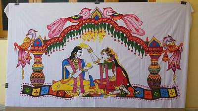 Hyderabad Artist Painting - Addutara-marrege-curtain by Venkat Meruvu