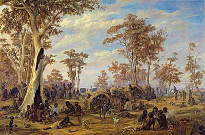 Aborigine Painting - Adelaide, A Tribe Of Natives On The Banks Of The River Torrens by Alexander Schramm