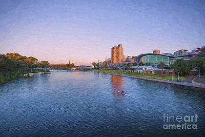 Photograph - Adelaide Riverbank At Sunset    Ed by Ray Warren