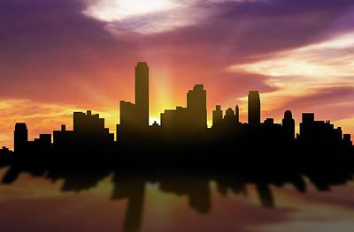 Australia Digital Art - Adelaide Skyline Sunset Auad22 by Aged Pixel