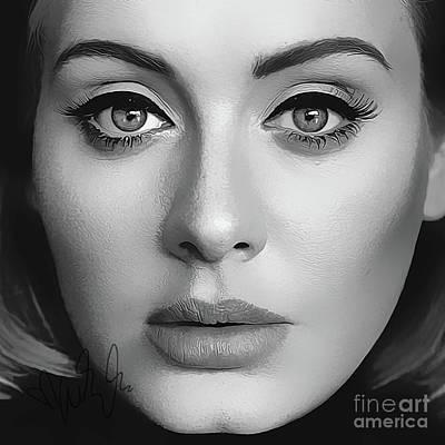 Adele Digital Art - Adele Art With Autograph by Kjc