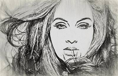 Musicians Drawings - Adele Charcoal Sketch by Dan Sproul