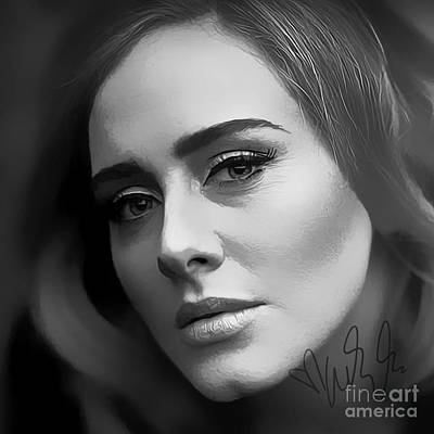Adele Digital Art - Adele Hello Art by Kjc
