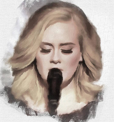 Adele Wall Art - Digital Art - Adele Portrait Hello by Yury Malkov