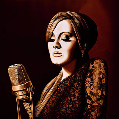 Adele Mixed Media - Adele Skyfall Gold by Paul Meijering