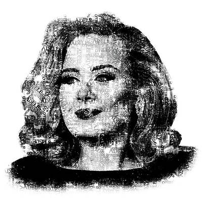R And B Digital Art - Adele Text Portrait - Typographic Face Poster With The Lyrics For The Song Hello by Jose Elias - Sofia Pereira