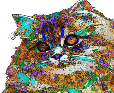 Digital Art - Adele The Cat. Pet Series by Rafael Salazar