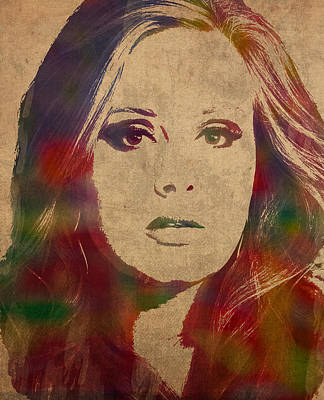 Adele Wall Art - Mixed Media - Adele Watercolor Portrait by Design Turnpike