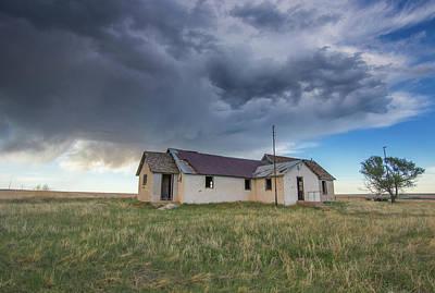 One Room Schoolhouse Photograph - Adena School Colorado Under Stormy Skies by Bridget Calip