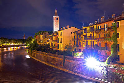 Photograph - Adige River Waterfront Evening View In Verona by Brch Photography