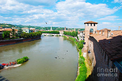 Italian Photograph - Adige River Winding Through Verona Italy by Just Eclectic