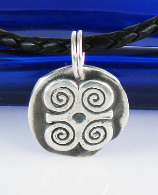 Jewelry - Adinkra Fine Silver Pendant - Ram's Horns - Symbol Of Humility And Strength by Vagabond Folk Art - Virginia Vivier
