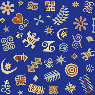 Digital Art - Adinkra Navy Folk Art by Vagabond Folk Art - Virginia Vivier
