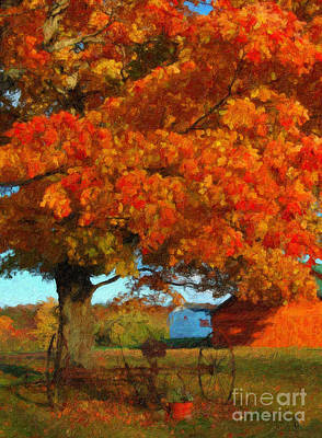 Art Print featuring the painting Adirondack Autumn Color Brush by Diane E Berry